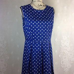 Liz Claiborne Blue White Polka Dot Midi Dress 12